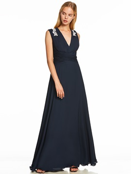 V Neck Appliques Pleats A Line Evening Dress & unusual Trends