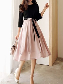 Tidebuy Scoop Patchwork High Waist Skater Dress