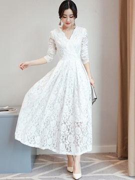 Tidebuy Lace Long Sleeves V Neck Maxi Dress