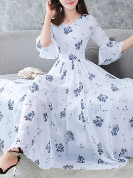 Tidebuy Floral Half Sleeves Volant Women's Maxi Dress