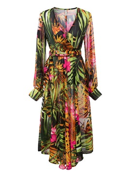 Tidebuy Color Block Print V-neck Women's Maxi Dress