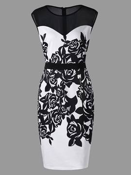 Tidebuy Plusee Floral Print Women's Bodycon Dress