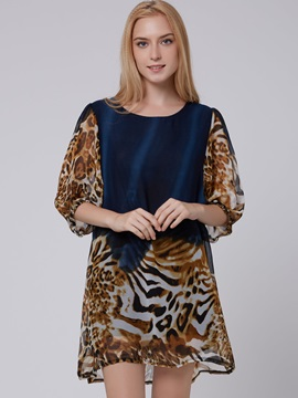 European Chiffon Print Shift Dress
