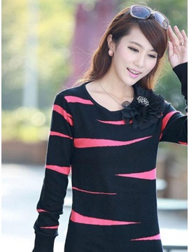 Fabulous New Korean Round Neckline Knit Slim Thicken Double-Deck Long Sweater