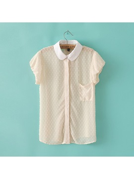 Comfortable Chiffon All-matched Doll Collar Blouse