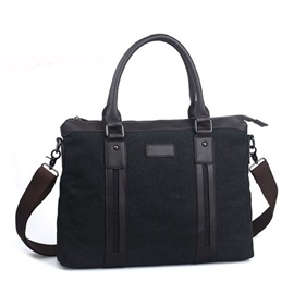 Retro Style Canvas Rivet Zipper Men Bag