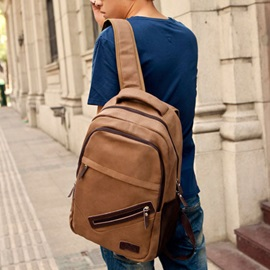 Vintage Style Zipper Men Backpack