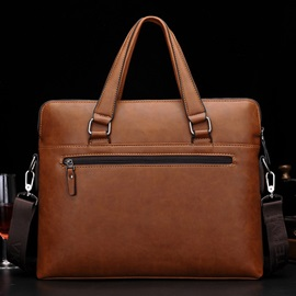 Solid Soft Zipper Business Men Bag