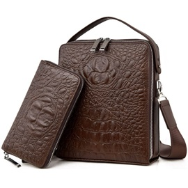 Croco-Embossed Men's Handbag