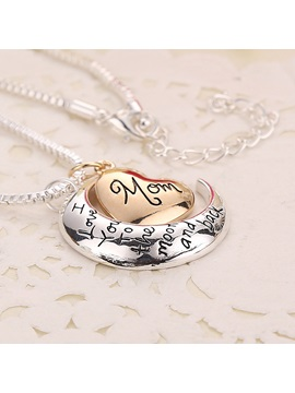 Moon Heart Letters For Mom Blessing Pendant Alloy Box Chain Gift Necklaces