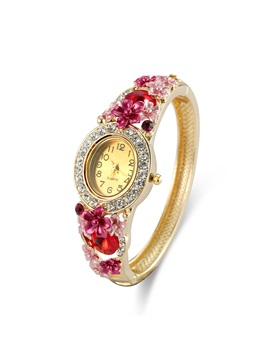Diamante Round Dial Red Flower Decorated Rhinestone Alloy Jewelry Clasp Bracelet Quartz Watches
