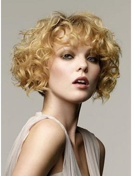 Charming Short Curly  Full Lace Hair Wig 100% Remy Human Hair