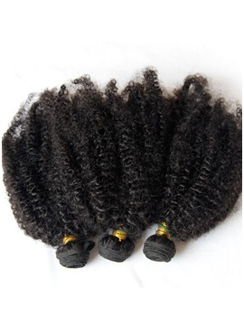 Curly Natural Black Human Hair Weft 3 pcs 150g