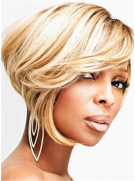 Smooth Hot Sale Bob Hairstyle Layered Straight Synthetic Hair Capless African American Wigs 8 Inches
