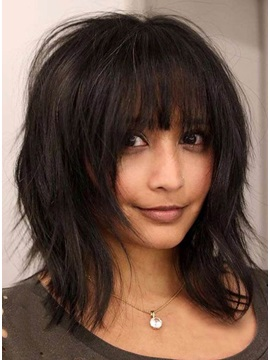 Layered Bob Messy Straight Medium Synthetic Hair With Bangs Capless 14 Inches