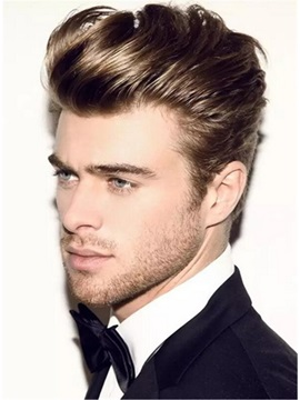 Half Shaved Voluminous Human Hairstyle Full Lace Men Wig