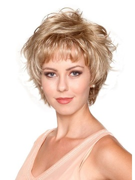 Short Blonde Color Curly Layered Lace Front Synthetic Hair Wig 8 Inches