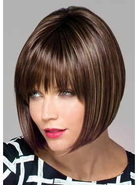 Women's Medium Bob Hairstyles Natural Looking Straight Synthetic Hair Lace Front Wigs 14Inch