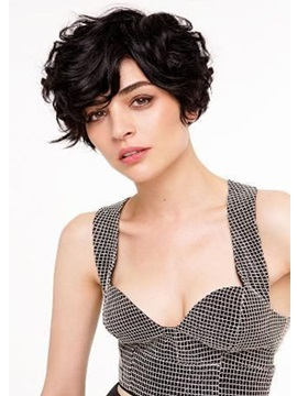 100% Human Hair Short Curly Women's Short Hairstyles Lace Front Cap Wigs 10Inches