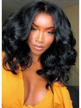 Medium Hairstyles Women's 100% Virgin Human Hair Body Wave Lace Front Wigs 14Inches