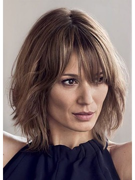 Natural Looking Women'S Medium Bob Hairstyles Natural Straight Synthetic Hair Wigs Capless Wig 14inch