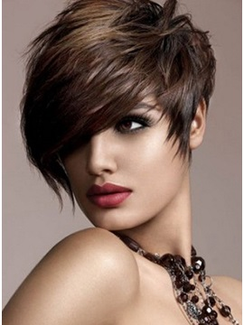 100% Remy Human Hair Short Straight Wig about 8 Inches