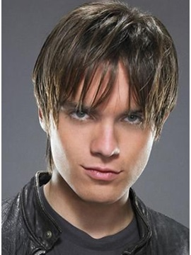 Boy's Celebrity Hairstyle 100% Remy Human Hair Chestnut Sexy Wig about 5 Inches