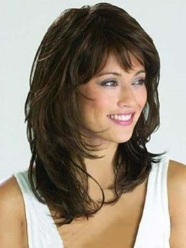 Graceful Medium Curly Natural Synthetic Wigs 14 Inches