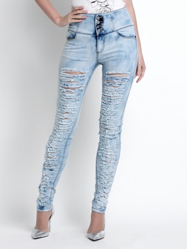 Solid Color Cotton Denim Frayed Destroy Pencil Jean