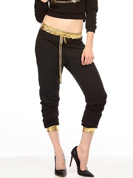 Chic Polyester Loose-Fit Patchwork Pant