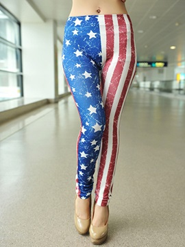 Vogue Stripe & Five-Pointed Star Printed Leggings
