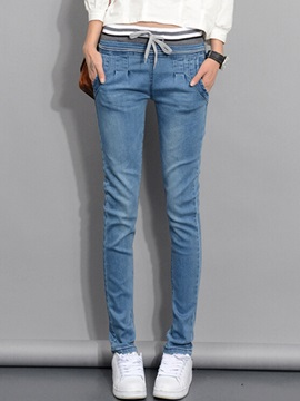 Simple Pleated Lace-Up Jean