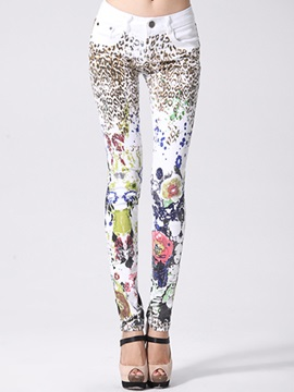 Slimming Mixed-Print Pencil Jean