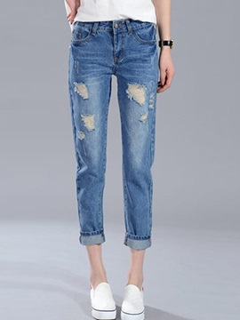 Simple Frayed Destroy Loose-Fit Jean