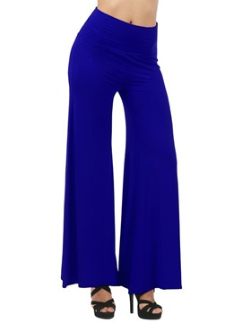High Waist Solid Color Pleated Palazzo Pants