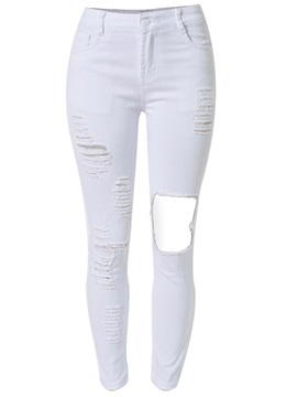 White Worn-Out Ripped Jeans