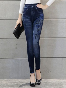 High Waisted Denim Floral Print Slim Leggings