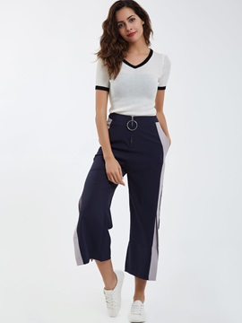 Side Stripe Color Block Wide Legs Women's Casual Pants