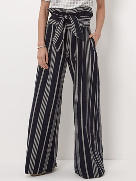 Loose Lace-Up Stripe Wide Legs Pants