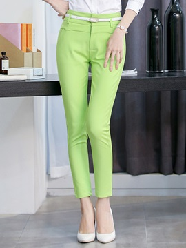 Plain Slim High-Waist Cotton Patchwork Zipper Belt Pocket Casual Pants