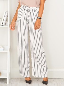 Mid-Waist Straight Stripe Patchwork Belt Casual Pants