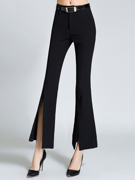 Plain Slim Asymmetric Bellbottoms Casual Pants
