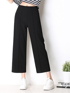 High-Waist Plain Linen Wide Legs Casual Pants