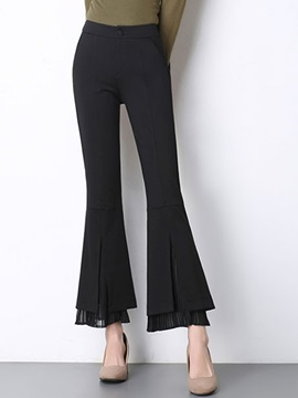 High-Waist Slim Chiffon Bellbottoms Casual Pants