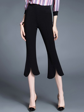 Slim Elastics Mid-Calf Bellbottoms Casual Pants