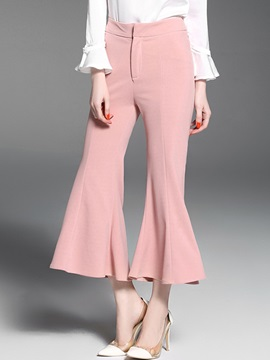 Mid-Waist Polyester Loose Bellbottoms Casual Pants
