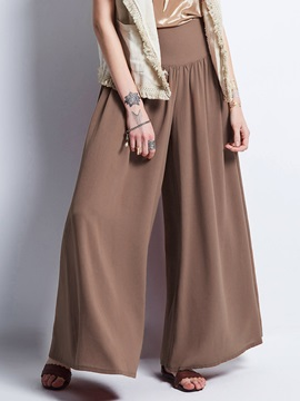 Loose Plain Wide Legs Casual Pants