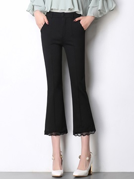 Lace Patchwork Slim Bell Bottoms Casual Pants