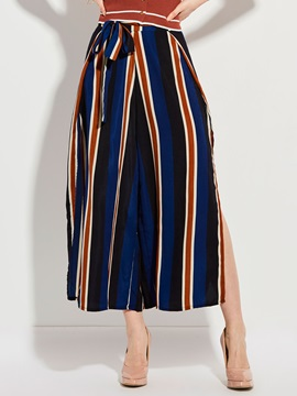 Loose Color Block Stripe Wide Legs Pants