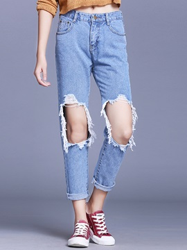 Worn Hole Patchwork Mesh BF Style Jeans